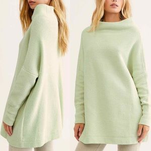 NWT Free People Ottoman Mint Green Tunic Sweater S
